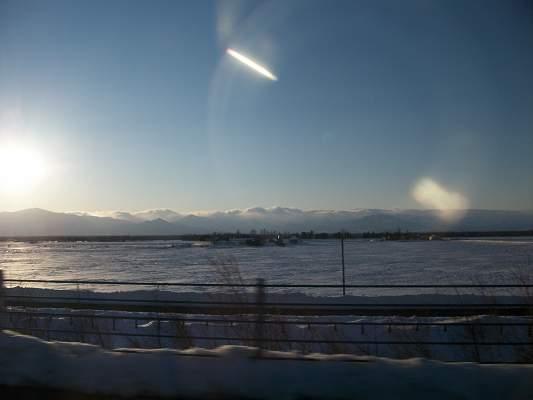 北海道帯広市の道路風景